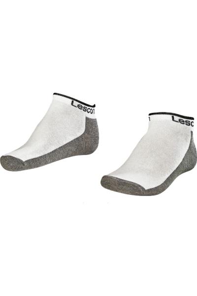 La-2185 Beyaz 2'li Patik Çorap 40-45 Numara