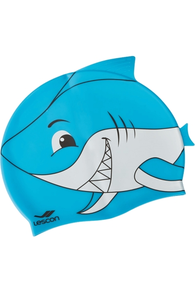 La-2220 Kids Silicon Swimming Hat Blue Shark