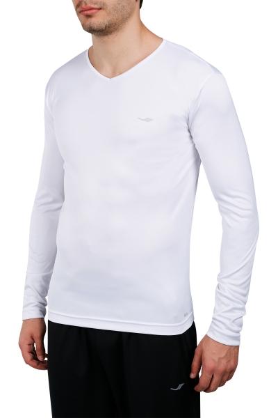 18S-1223 Beyaz Erkek Uzun Kollu T-Shirt