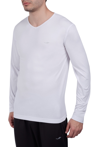 18S-1232 Beyaz Erkek Uzun Kollu T-Shirt