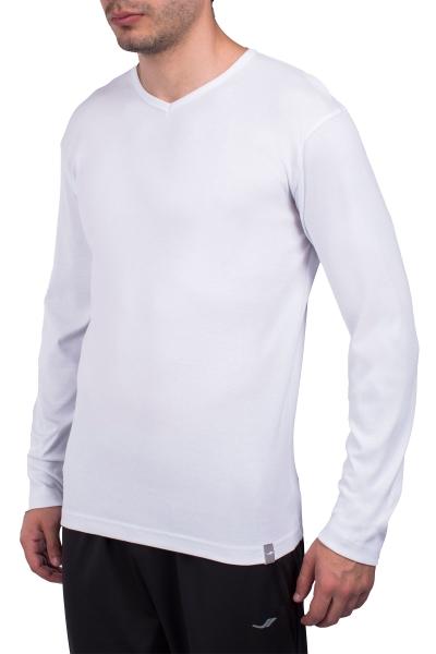 18S-1247 Beyaz Erkek Uzun Kollu T-Shirt