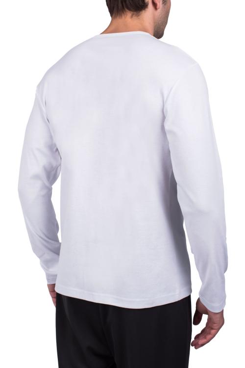 18S-1248 Beyaz Erkek Uzun Kollu T-Shirt