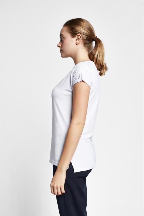 19B-2140 Beyaz Bayan Kısa Kollu T-Shirt