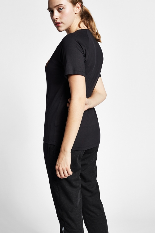 19B-2146 Siyah Bayan Kısa Kollu T-Shirt