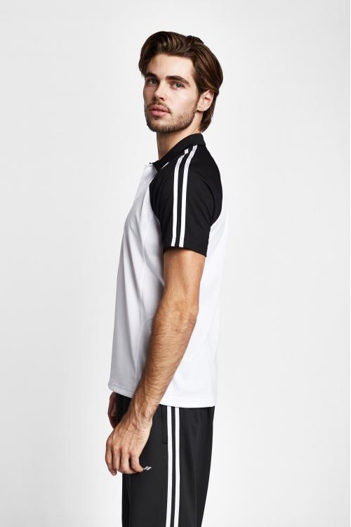 19B-1127 Beyaz Siyah Erkek Kısa Kollu Polo Yaka T-Shirt