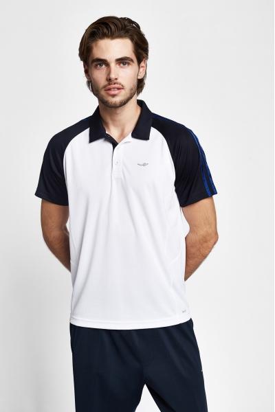 19B-1127 Men T-Shirt White_Navy