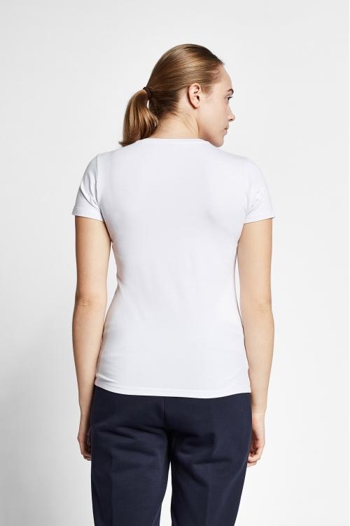 19S-2202-19N Beyaz Bayan Kısa Kollu T-Shirt