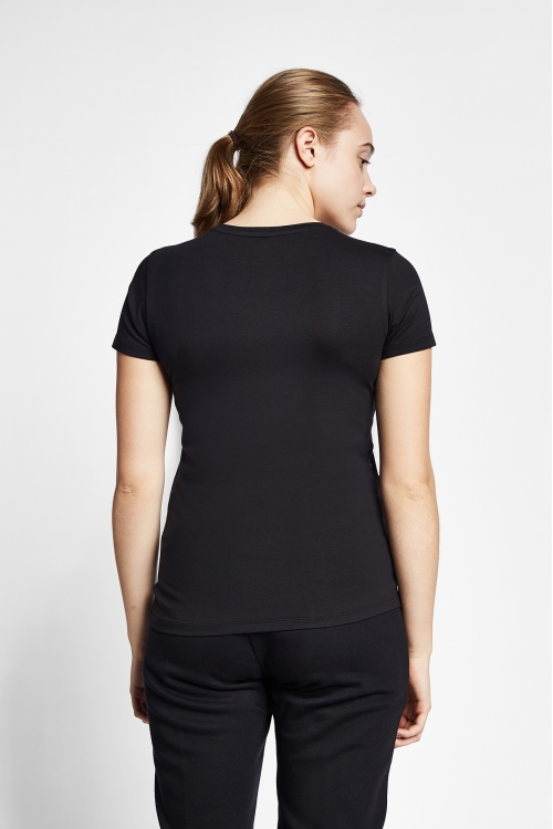 19S-2202-19N Siyah Bayan Kısa Kollu T-Shirt