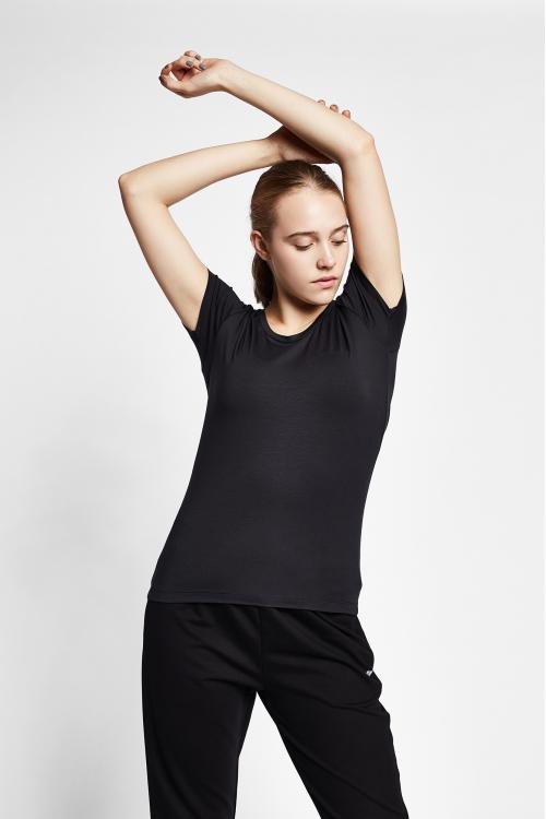 19S-2205-19N Siyah Bayan Kısa Kollu T-Shirt
