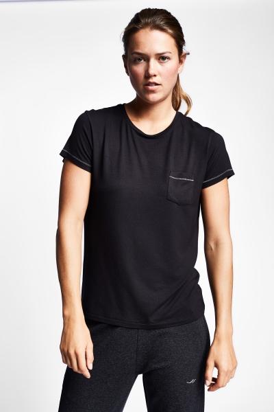 19N-2143 Siyah Bayan Kısa Kollu T-Shirt
