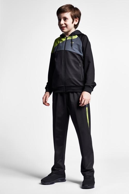 19N-3009 Siyah Neon Yeşil Çocuk Eşofman Takımı
