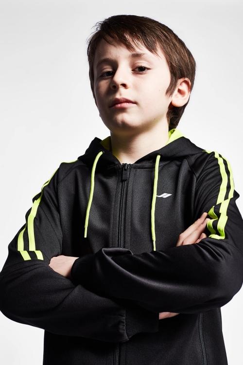 19N-3119 Siyah Çocuk Fermuarlı Kapüşonlu Üst