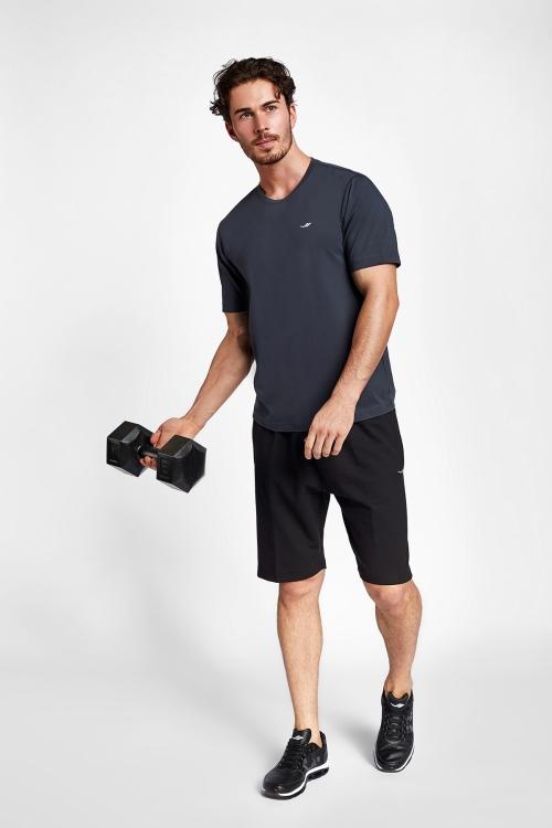 19S-1202-19N Gri Erkek Kısa Kollu T-Shirt