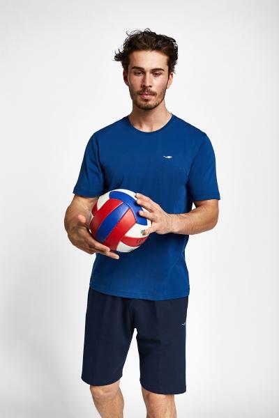 19S-1202-19N indigo Erkek Kısa Kollu T-Shirt