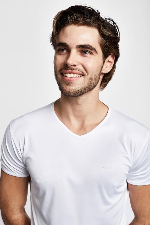 19S-1221-19N Beyaz Erkek Kısa Kollu T-Shirt