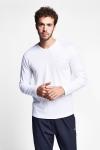 19S-1225-19N Beyaz Erkek Uzun Kollu T-Shirt