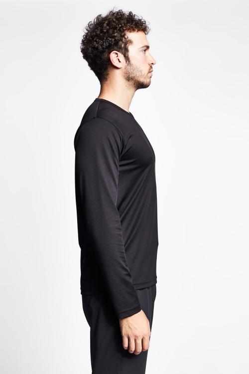 19S-1225-19N Siyah Erkek Uzun Kollu T-Shirt