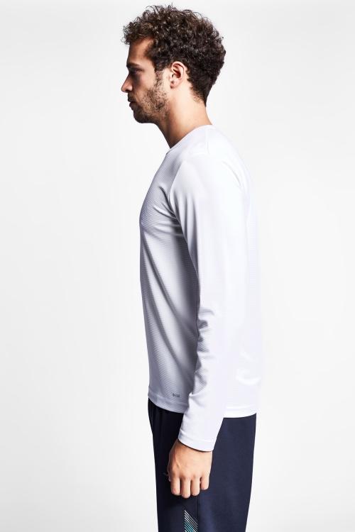 19S-1233-19N Beyaz Erkek Uzun Kollu T-Shirt