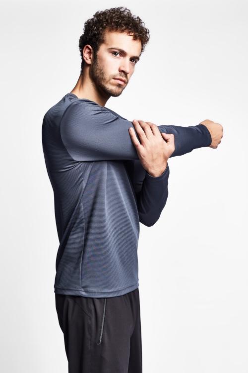 19S-1233-19N Gri Erkek Uzun Kollu T-Shirt