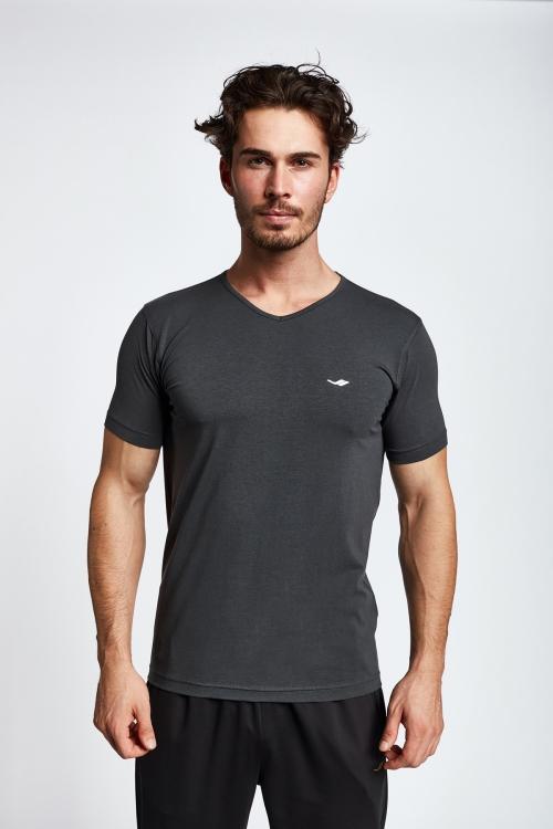 19S-1246-19N Gri Erkek Kısa Kollu T-Shirt