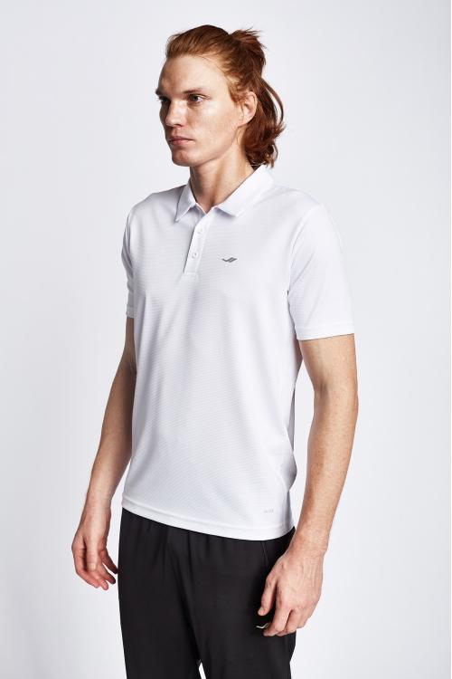 19S-1252-19N Beyaz Erkek Kısa Kollu Polo T-Shirt