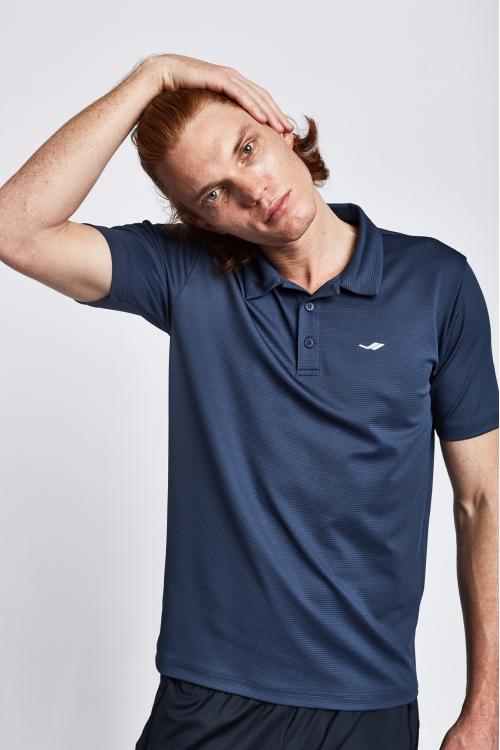 19S-1252-19N Mürekkep Erkek Kısa Kollu Polo T-Shirt