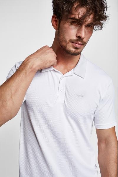 19S-1275-19N Beyaz Erkek Kısa Kollu Polo T-Shirt
