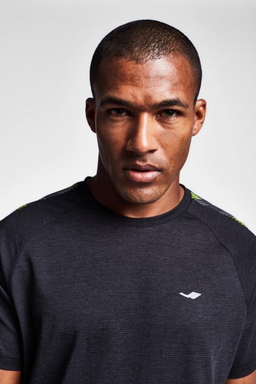 19N-1026 Siyah Erkek Antrenman T-Shirt