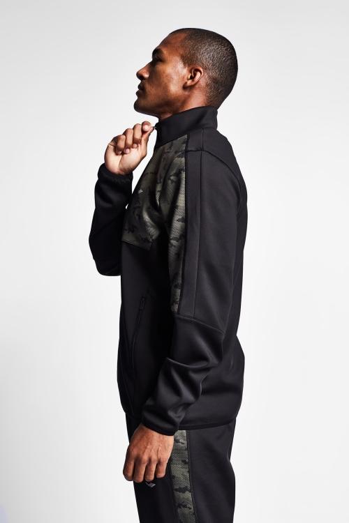19N-1117 Siyah Haki Erkek Fermuarlı Üst