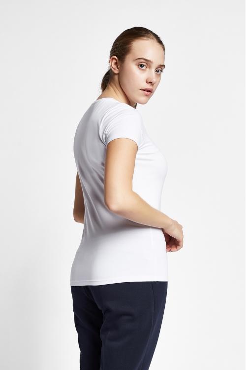 19S-2202-19B Beyaz Bayan Kısa Kollu T-Shirt