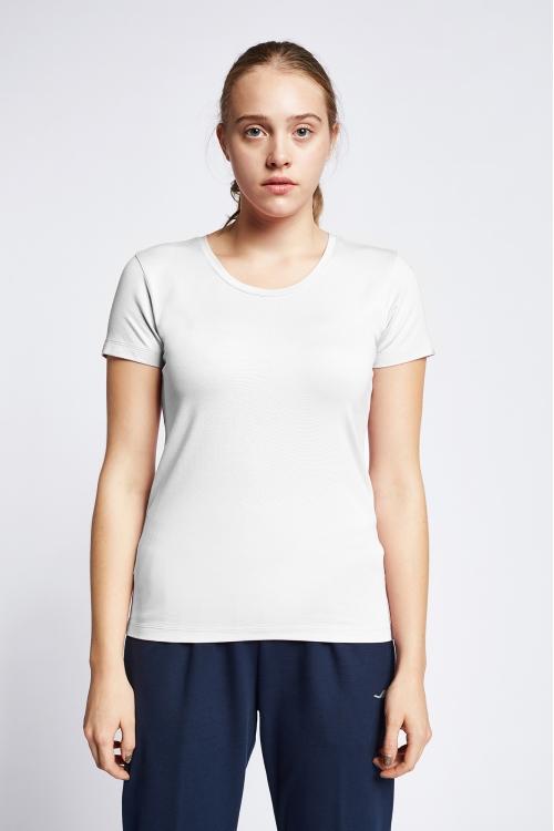 19S-2205-19B Beyaz Bayan Kısa Kollu T-Shirt