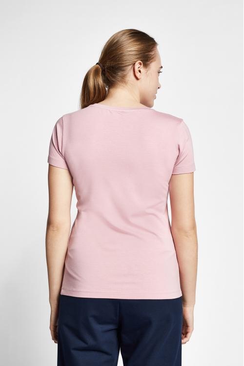 19S-2205-19B Pembe Bayan Kısa Kollu T-Shirt