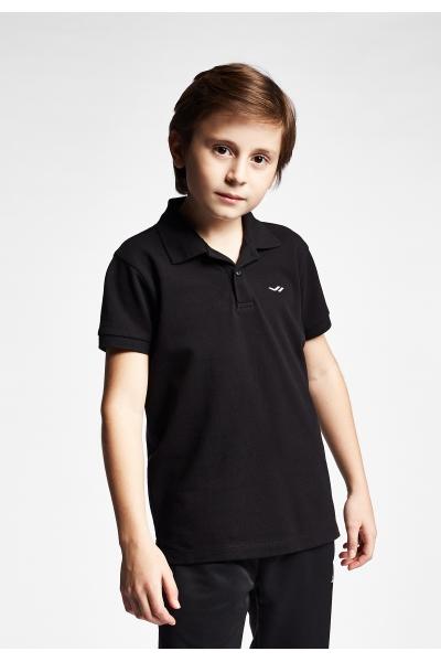 19S-3251-19B Siyah Çocuk Kısa Kollu Polo Yaka T-Shirt