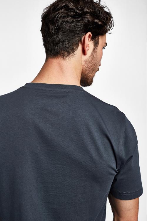 19S-1202-19B Gri Erkek Kısa Kollu T-Shirt