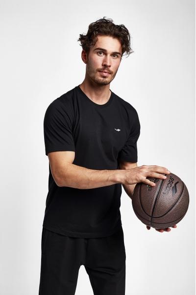 19S-1202-19B Siyah Erkek Kısa Kollu T-Shirt