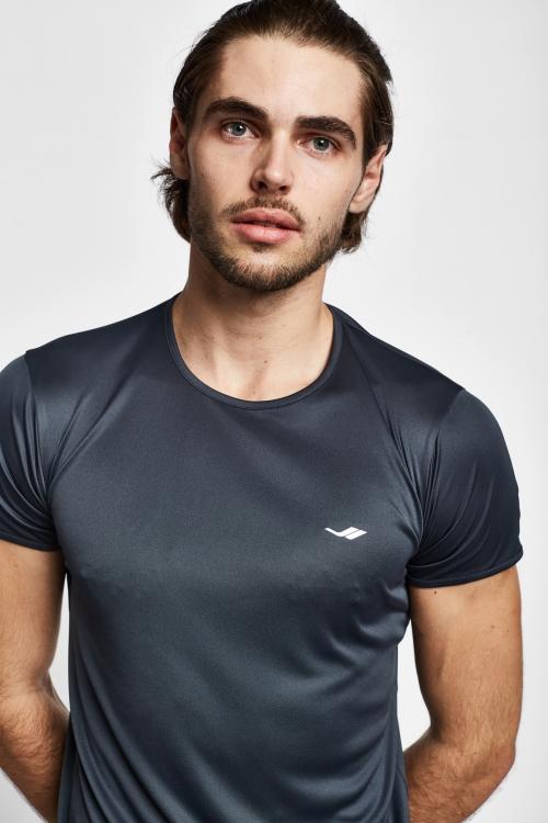 19S-1220-19B Gri Erkek Kısa Kollu T-Shirt