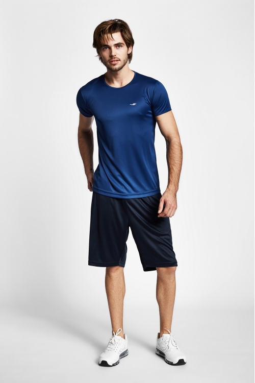 19S-1220-19B Mavi Erkek Kısa Kollu T-Shirt