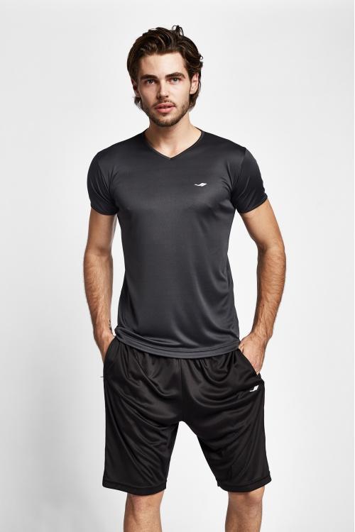 19S-1221-19B Gri Erkek Kısa Kollu T-Shirt
