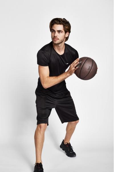 19S-1221-19B Siyah Erkek Kısa Kollu T-Shirt