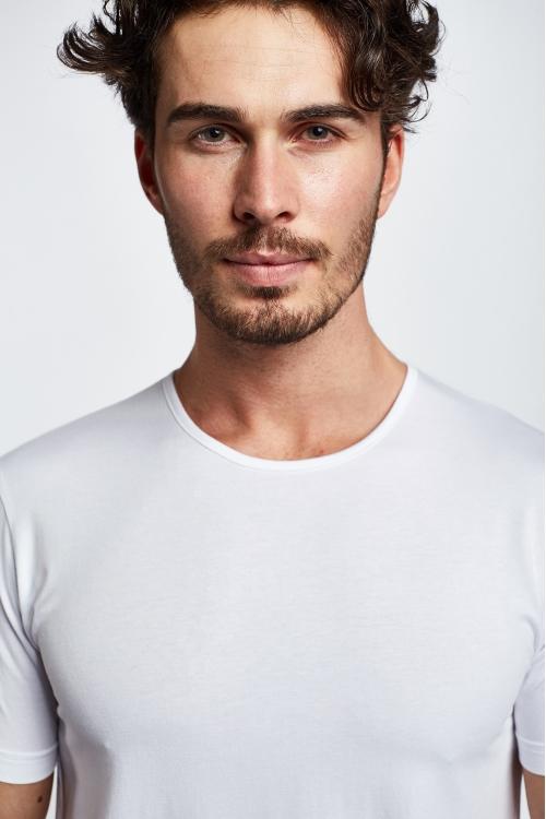 19S-1227-19B Beyaz Erkek Kısa Kollu T-Shirt