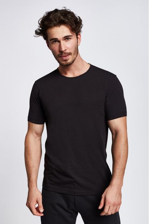 19S-1227-19B Siyah Erkek Kısa Kollu T-Shirt