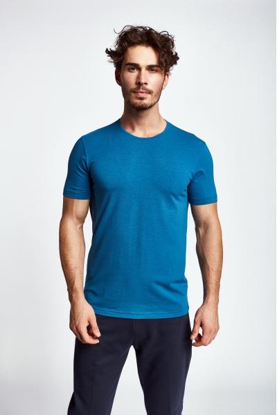 19S-1227-19B Mavi Erkek Kısa Kollu T-Shirt