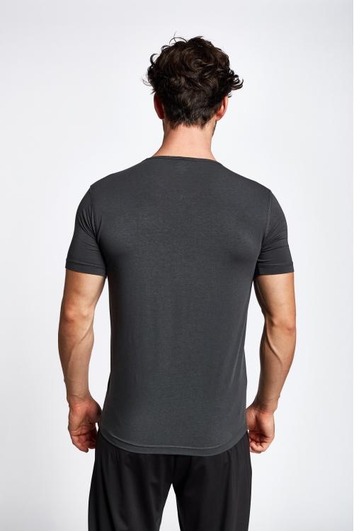 19S-1246-19B Gri Erkek Kısa Kollu T-Shirt