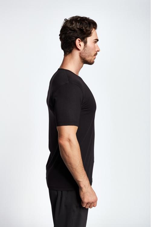 19S-1246-19B Siyah Erkek Kısa Kollu T-Shirt