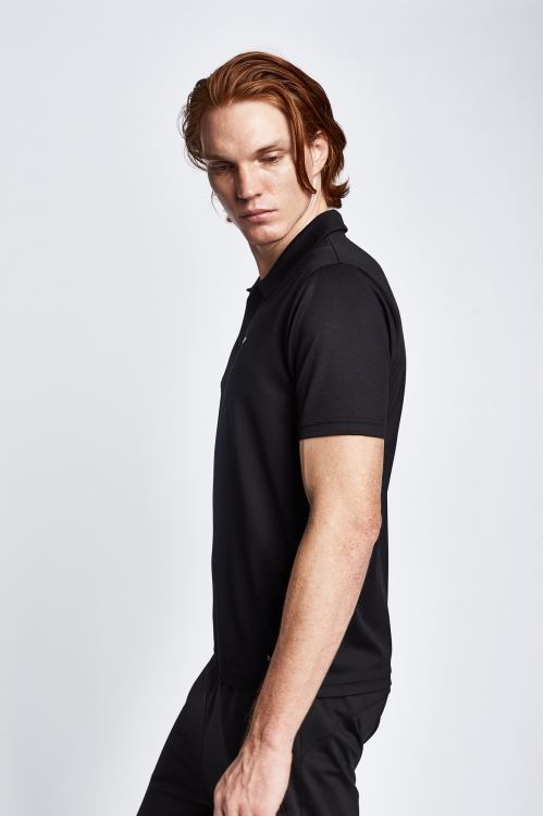 19S-1252-19B Siyah Erkek Kısa Kollu Polo Yaka T-Shirt