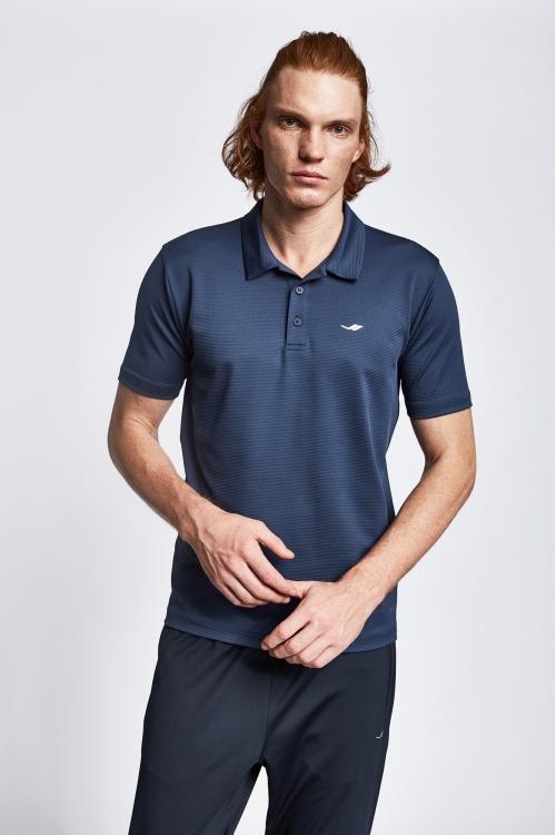 19S-1252-19B Lacivert Erkek Kısa Kollu Polo Yaka T-Shirt