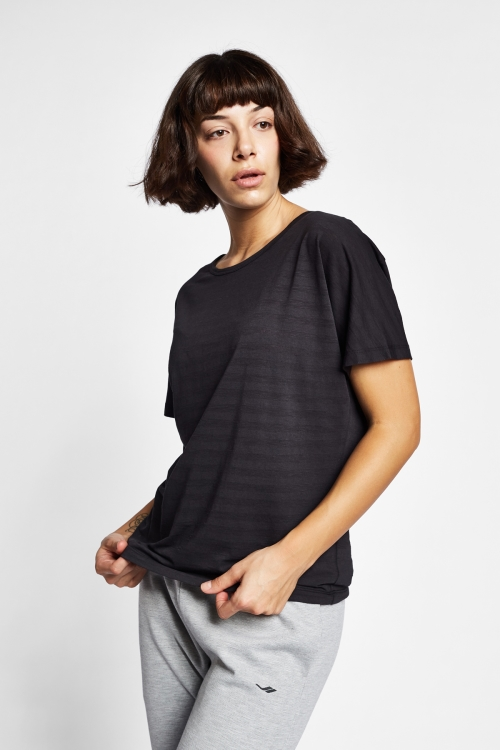 19Y-2171 Siyah Bayan Kısa Kollu T-Shirt