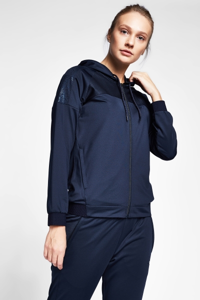 20B-2015 Women Exercise Zip Hooded Top Navy