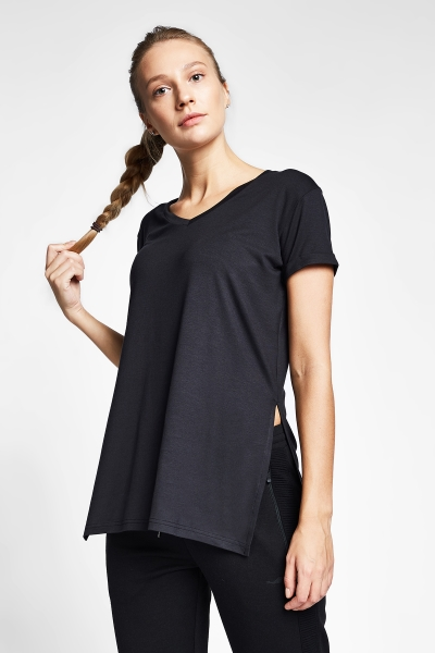 20B-2028 Women Exercise T-Shirt Black