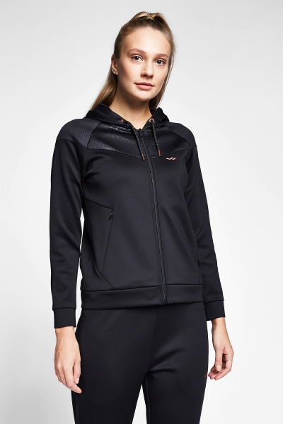 20B-2101 Women Zip Hooded Top Black